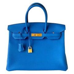 Hermès Birkin 35 Blue Zellige Togo Gold Hardware
