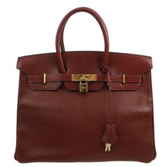 Hermes Birkin 35 Bordeaux Wine Leather Top Handle Satchel Travel Shoulder Bag