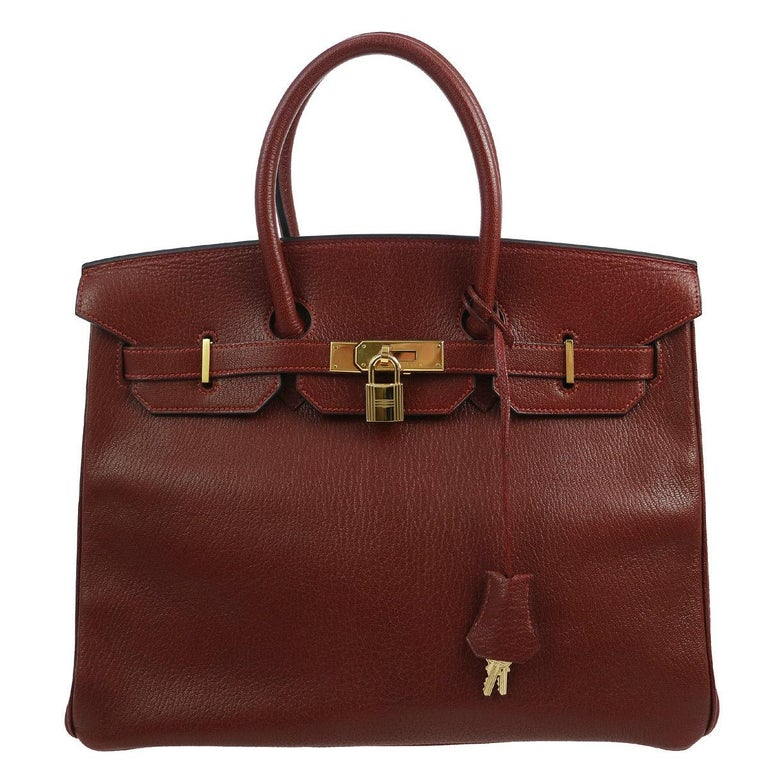 3754ec87a2df Hermes Birkin 35 Bordeaux Wine Leather Top Handle Satchel Travel Shoulder  Bag For Sale