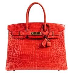 Hermès Birkin 35 Bougainvillier Crocodile Porosus GHW