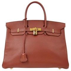 Hermes Birkin 35 Brick Red Leather Gold Men's Women's Top Handle Tote Bag in Box