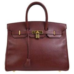 Hermes Birkin 35 Burgundy Leather Gold Men's Women's Top Handle Tote Bag