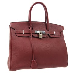 Hermes Birkin 35 Burgundy Leather Palladium Top Handle Satchel Travel Tote Bag
