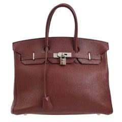Hermes Birkin 35 Burgundy Leather Top Carryall Handle Satchel Travel Tote Bag