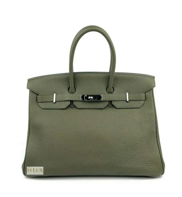 HERMES BIRKIN 35 CANOPEE ARMY GREEN PALLADIUM HWD  EXCELLENT CONDITION. Light scratching on hardware, excellent corners.  Shop with confidence from Lux Addicts. Authenticity guaranteed!