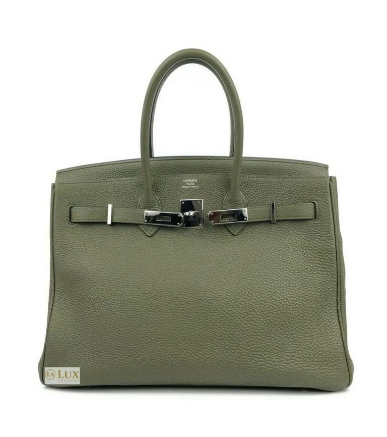 Hermes Birkin 35 Canopee Army Green Palladium Hardware  In Good Condition For Sale In Lancaster, CA