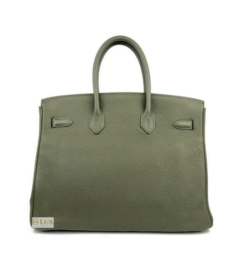 Women's or Men's Hermes Birkin 35 Canopee Army Green Palladium Hardware  For Sale