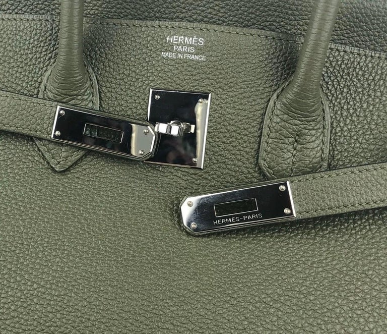Hermes Birkin 35 Canopee Army Green Palladium Hardware  For Sale 1
