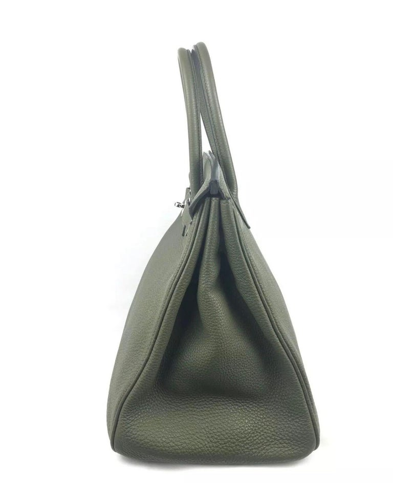 Hermes Birkin 35 Canopee Army Green Palladium Hardware  For Sale 2