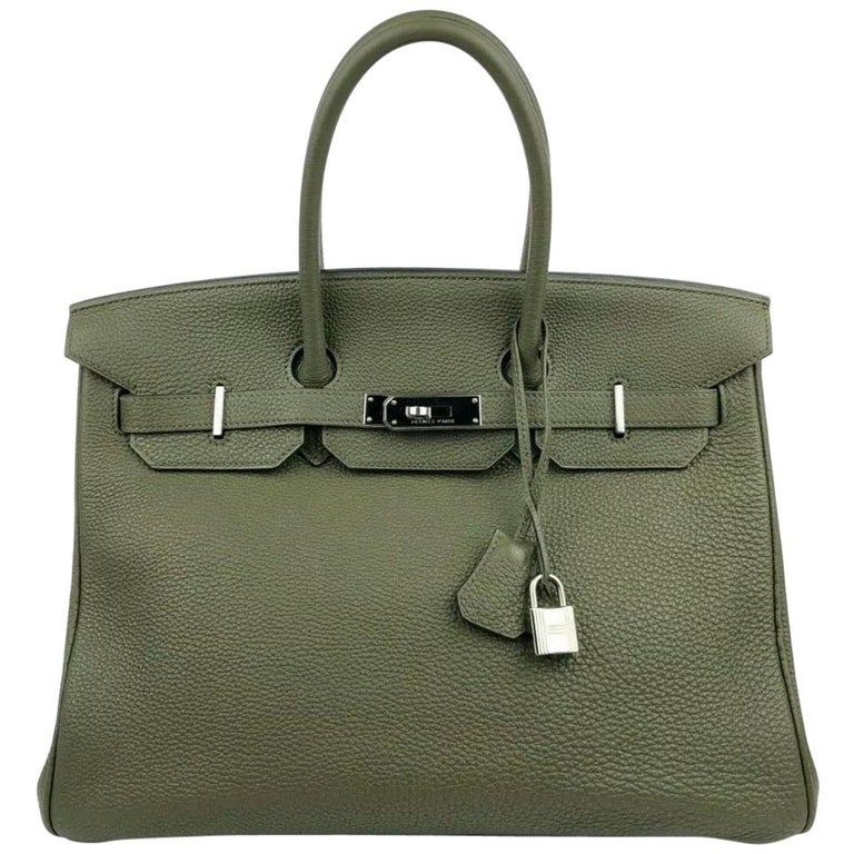 Hermes Birkin 35 Canopee Army Green Palladium Hardware  For Sale