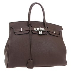 Hermes Birkin 35 Chocolate Brown Leather Top Handle Satchel Travel Tote Bag