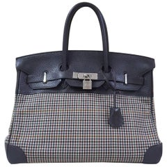 Hermès Birkin 35 Clemence Leather and Houndstooth Canvas