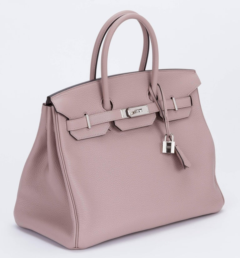 13d208258f Hermès 35cm Birkin in glycine clemence taurillon leather with palladium  hardware. Handle drop, 4