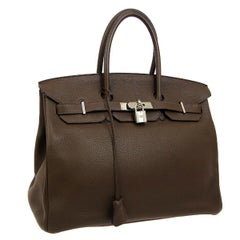 Hermes Birkin 35 Cocoa Leather Gold Travel Carryall Top Handle Satchel Tote