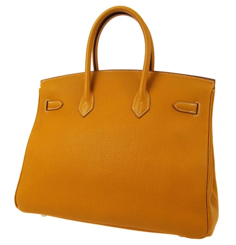 Women's Hermes Birkin 35 Cognac Caramel Leather Silver Top Handle Satchel Tote Bag For Sale
