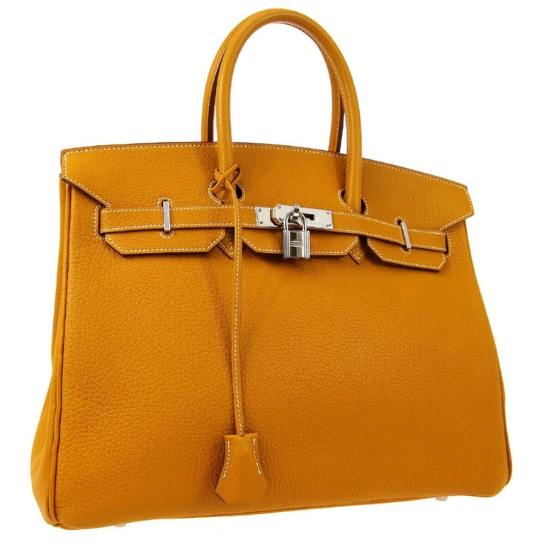 Hermes Birkin 35 Cognac Caramel Leather Silver Top Handle Satchel Tote Bag For Sale