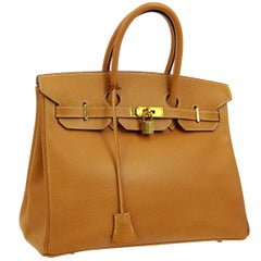 Hermes Birkin 35 Cognac Leather Gold Top Carryall Handle Satchel Travel Tote Bag