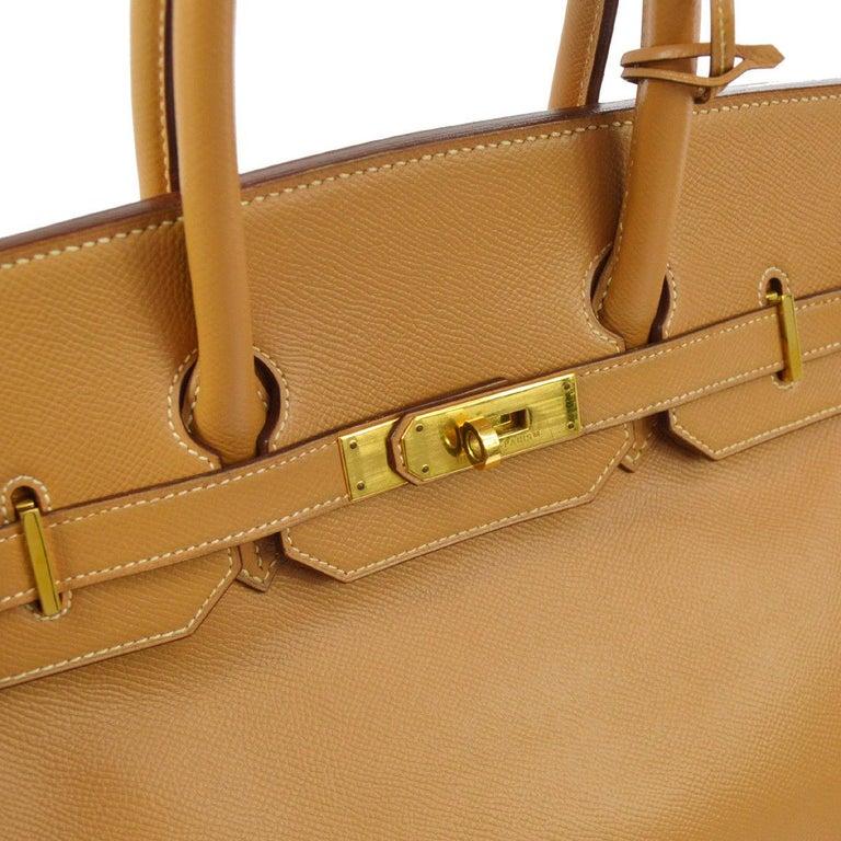 Brown Hermes Birkin 35 Cognac Leather Gold Travel Carryall Top Handle Satchel Tote For Sale