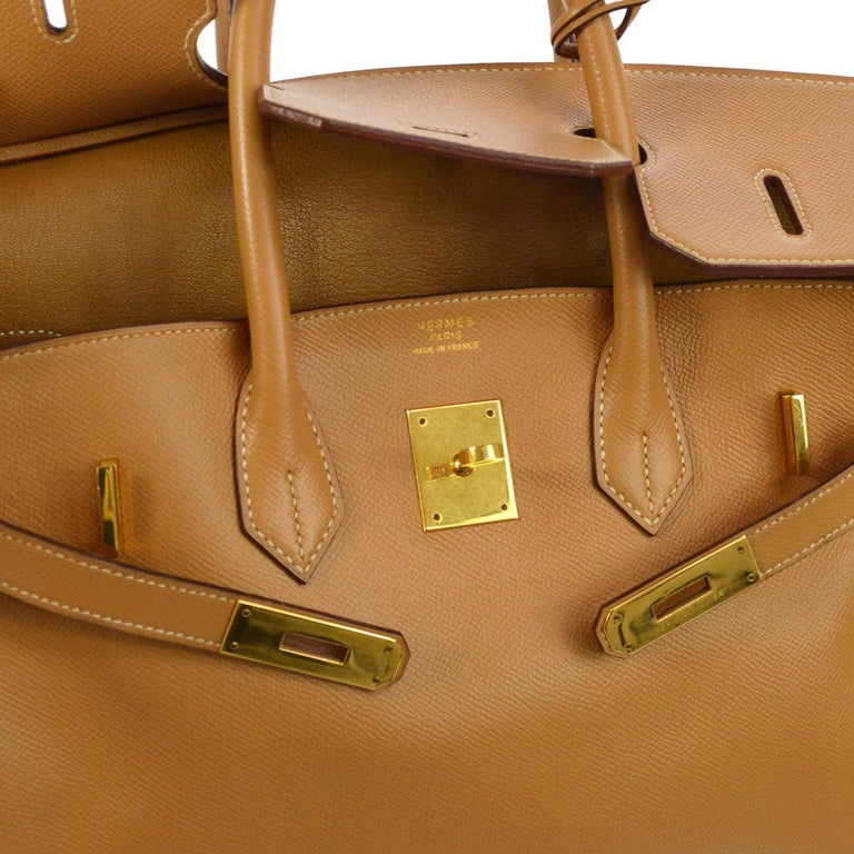 Hermes Birkin 35 Cognac Leather Gold Travel Carryall Top Handle Satchel Tote In Good Condition For Sale In Chicago, IL