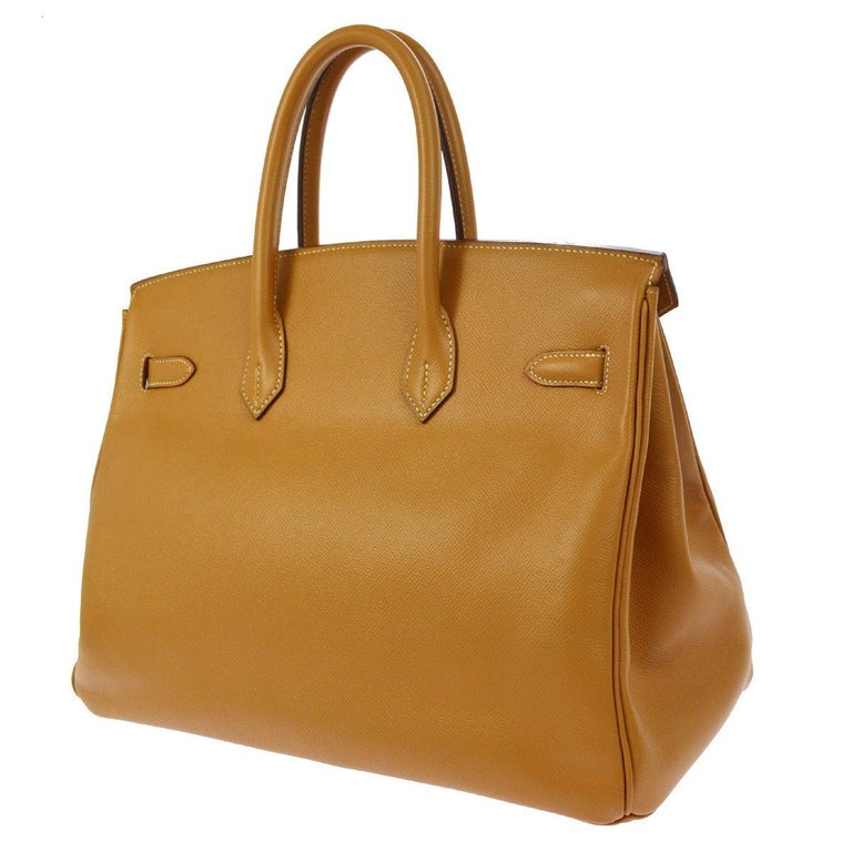 Women's Hermes Birkin 35 Cognac Leather Gold Travel Carryall Top Handle Satchel Tote For Sale