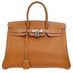 Hermes Birkin 35 Cognac Leather Gold Travel Carryall Top Handle Satchel Tote
