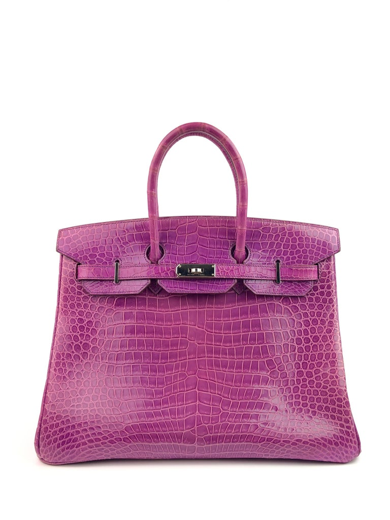 Hermes Birkin 35 Crocodile Cyclamen Purple Pink Palladium Hardware. Excellent Condition Light Hairlines Scratches on hardware and skin. Best Price! Includes Lock, Clochette and Dust Bag. From Collectors Closet.  Shop with Confidence from Lux