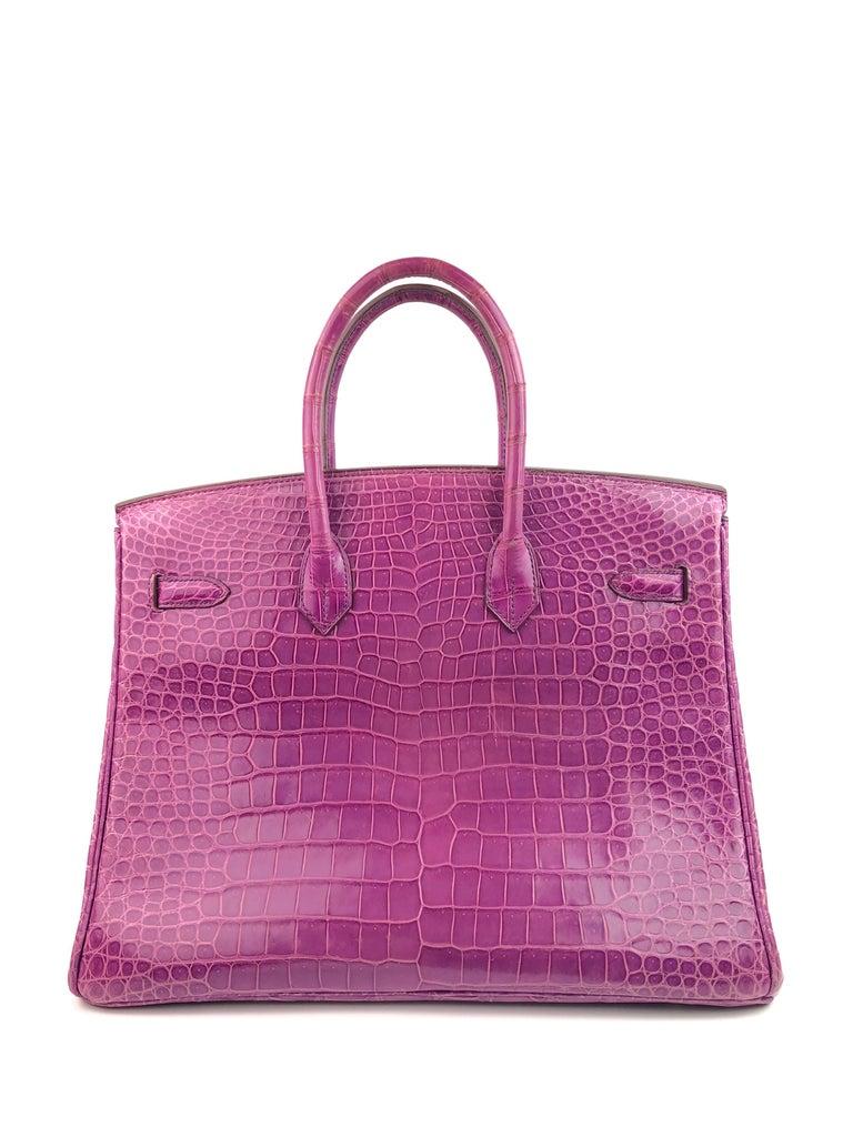 Women's or Men's Hermes Birkin 35 Crocodile Cyclamen Purple Pink Palladium Hardware For Sale