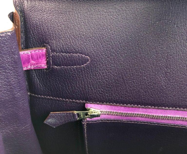 Hermes Birkin 35 Crocodile Cyclamen Purple Pink Palladium Hardware For Sale 1