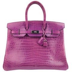 Hermes Birkin 35 Crocodile Cyclamen Purple Pink Palladium Hardware