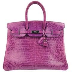 Hermes Birkin 35 Crocodile Cyclamen Purple Pink Palladium Hardware
