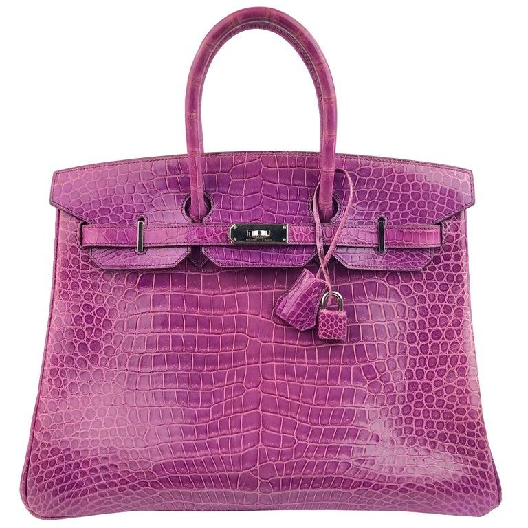 Hermes Birkin 35 Crocodile Cyclamen Purple Pink Palladium Hardware For Sale