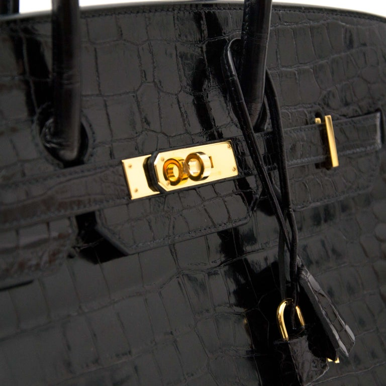 Hermès Birkin 35 Crocodile Porosus Black GHW For Sale 6
