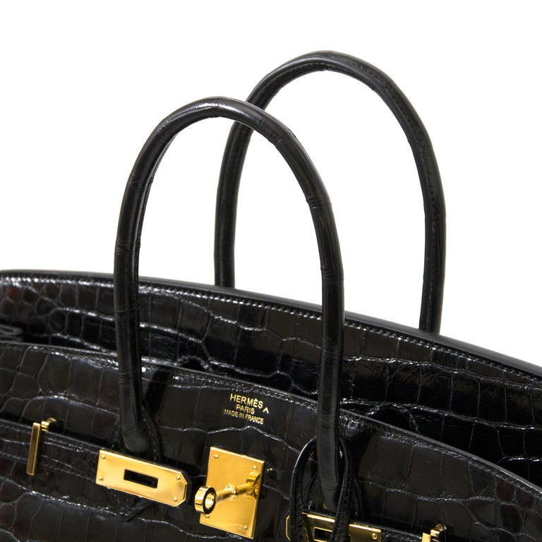Hermès Birkin 35 Crocodile Porosus Black GHW For Sale 8