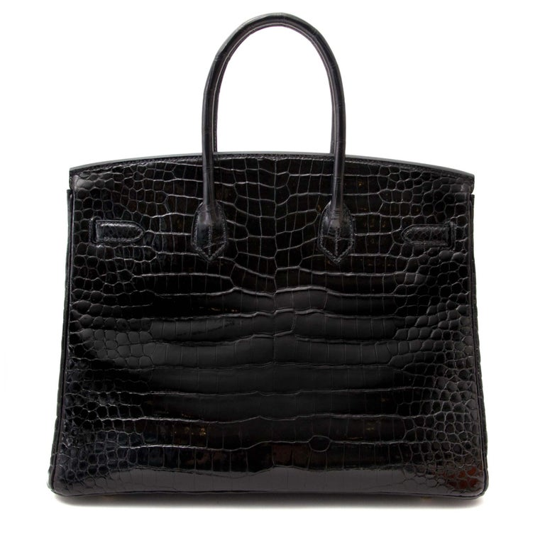 Women's or Men's Hermès Birkin 35 Crocodile Porosus Black GHW For Sale