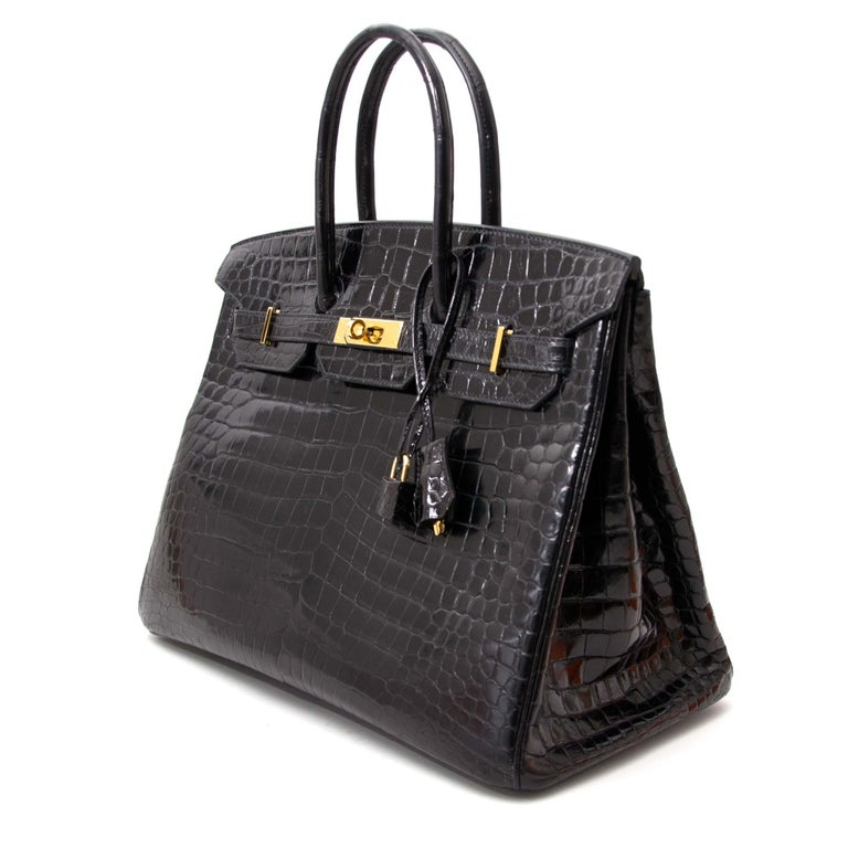 Hermès Birkin 35 Crocodile Porosus Black GHW For Sale 2