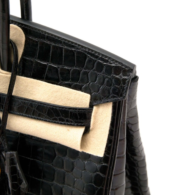 Hermès Birkin 35 Crocodile Porosus Black GHW For Sale 3