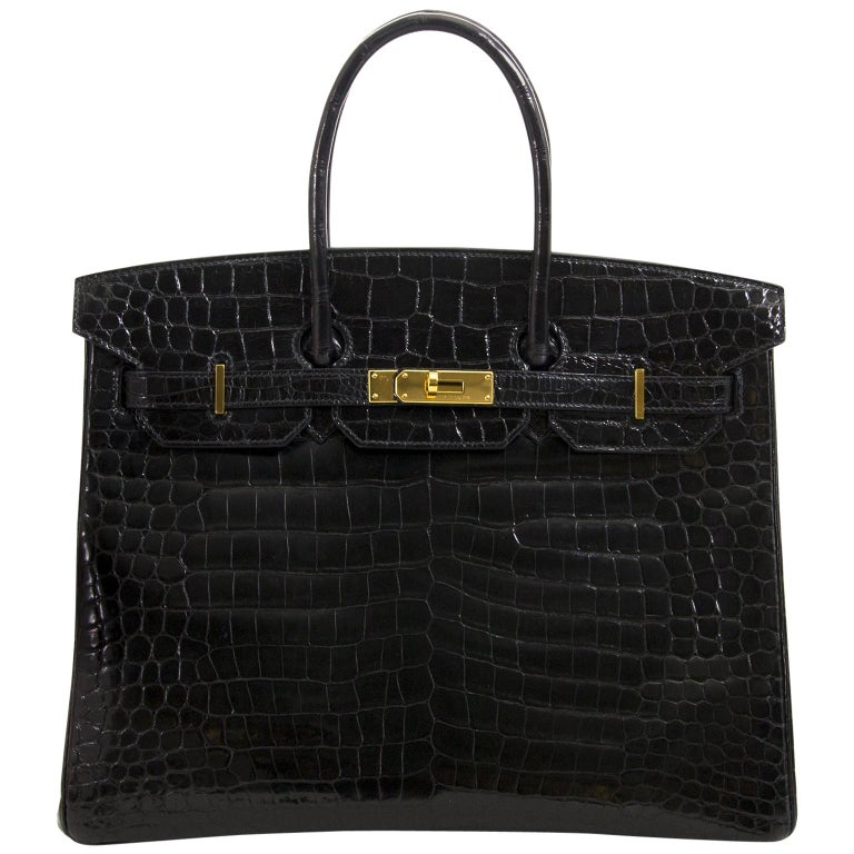 Hermès Birkin 35 Crocodile Porosus Black GHW For Sale