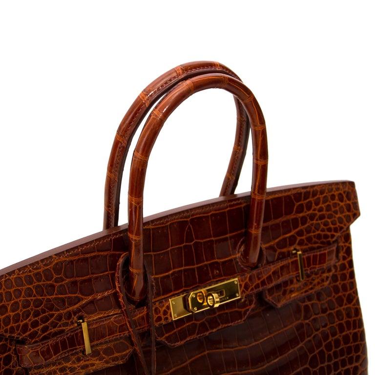 Brown Hermès Birkin 35 Crocodile Porosus Havane GHW For Sale