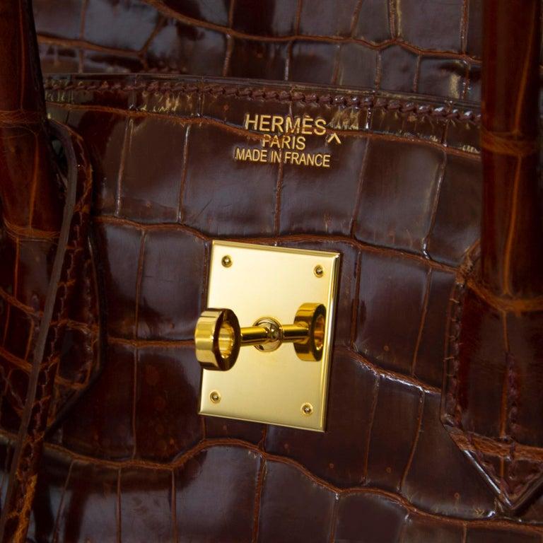 Women's or Men's Hermès Birkin 35 Crocodile Porosus Havane GHW For Sale