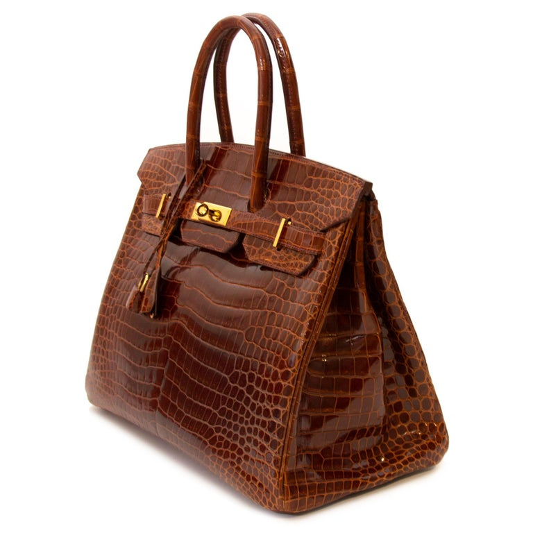 Hermès Birkin 35 Crocodile Porosus Havane GHW For Sale 2