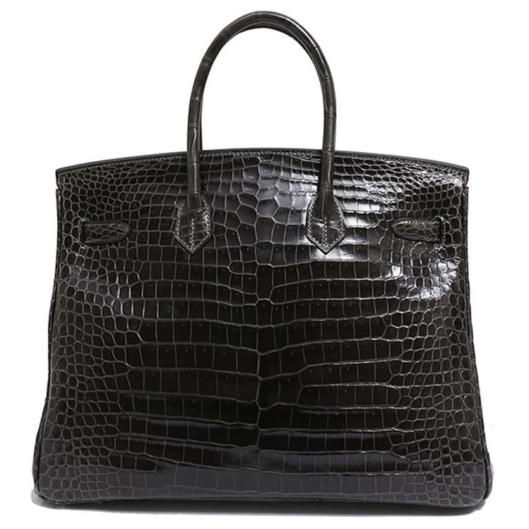 Women's Hermes Birkin 35 Dark Gray Crocodile Exotic Top Handle Satchel Tote Bag For Sale