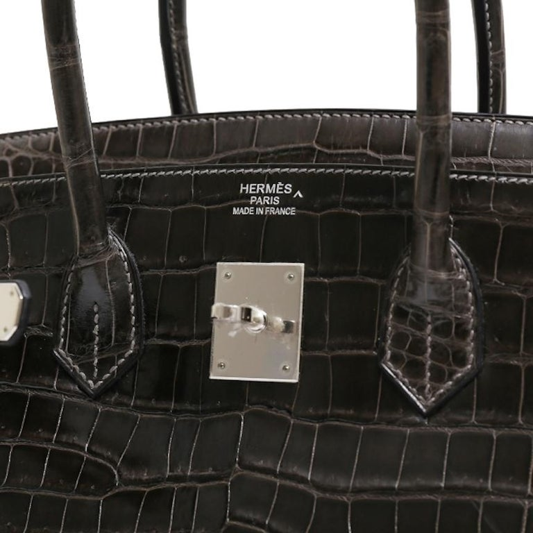 Hermes Birkin 35 Dark Gray Crocodile Exotic Top Handle Satchel Tote Bag For Sale 3