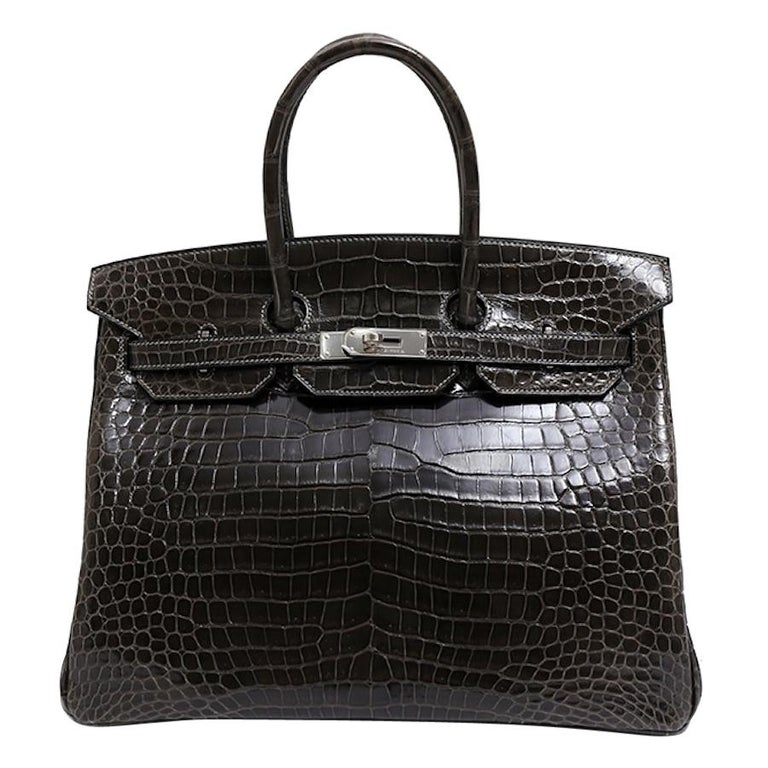 Hermes Birkin 35 Dark Gray Crocodile Exotic Top Handle Satchel Tote Bag For Sale