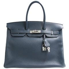 Hermès Birkin 35 Dark with Palladium Hardware Togo Blue Leather Tote