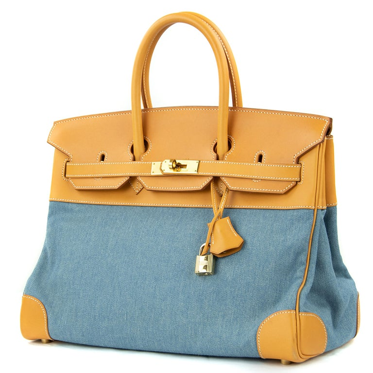 Hermes 35cm Birkin bag in Denim & Vache Naturelle. This iconic special order Hermes Birkin bag is timeless and chic. Fresh and crisp with gold hardware.      Condition: Excellent, Previously Used     Made in France     Bag Measures: 35cm (13.8
