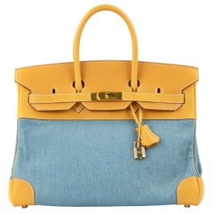 Hermes Birkin 35 Denim & Vache Naturelle GHW (Pre Owned)