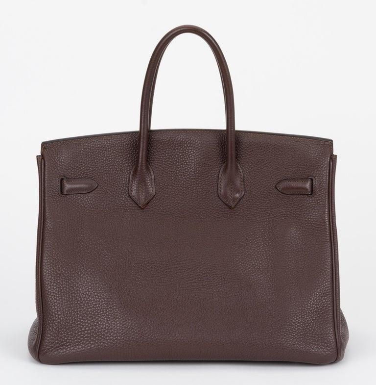 Black Hermes Birkin 35 Ebene Clemence Leather Bag For Sale