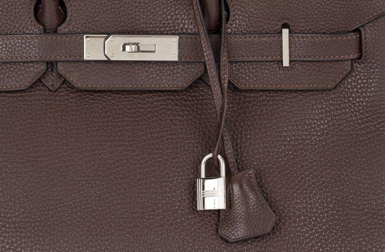 Women's Hermes Birkin 35 Ebene Clemence Leather Bag For Sale