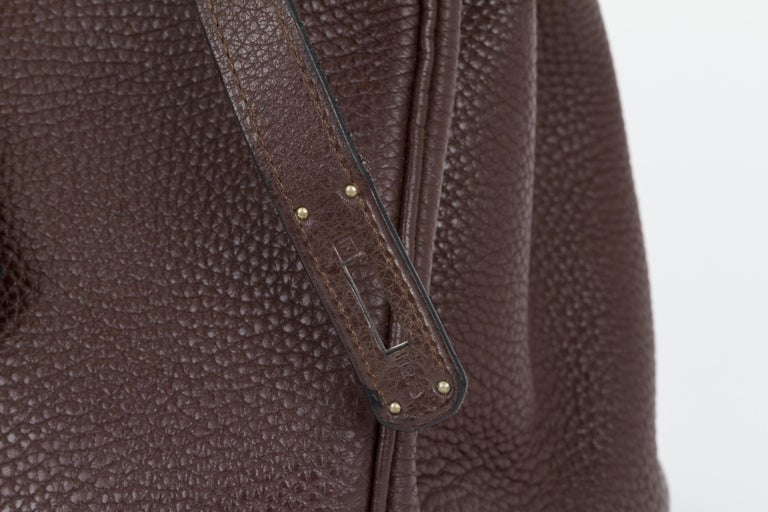 Hermes Birkin 35 Ebene Clemence Leather Bag For Sale 1