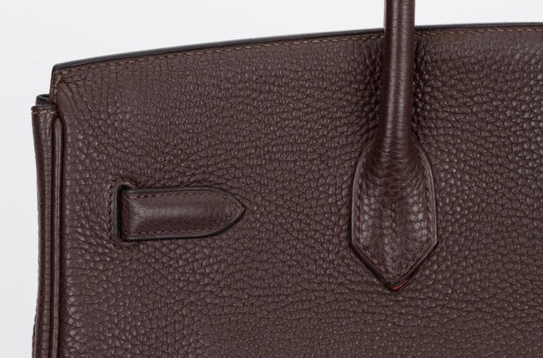 Hermes Birkin 35 Ebene Clemence Leather Bag For Sale 2
